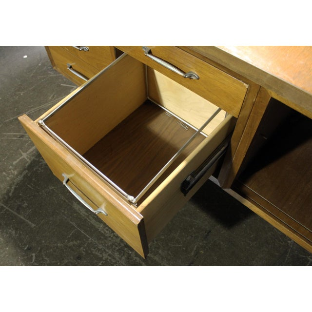 Wood Mid-Century Modern Executive Secretary Desk For Sale - Image 7 of 8