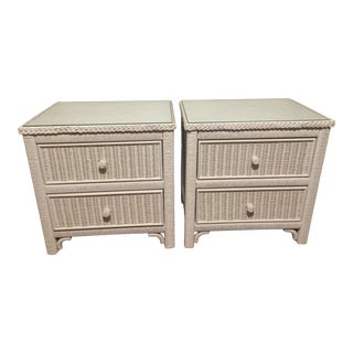 Pair of Henry Link Lexington White Wicker Nightstands For Sale