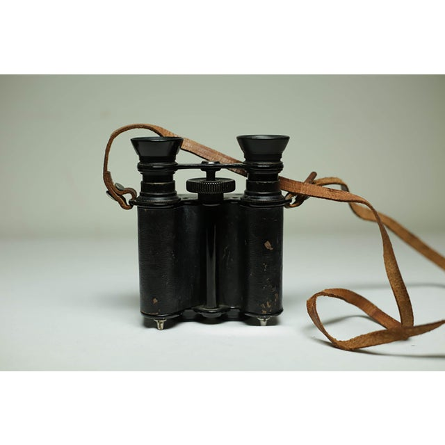 Animal Skin Leather Wrapped Binoculars and Leather Case C. 1940-1950s For Sale - Image 7 of 11