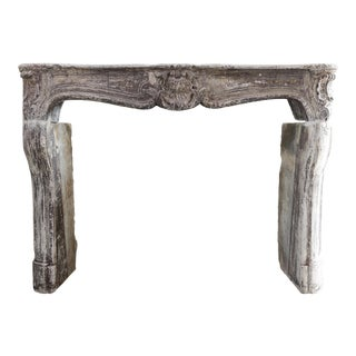 Antique French Limestone Mantel Fireplace, 19th Century, Louis XV For Sale
