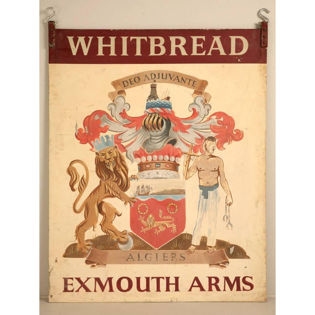 Exmouth Arms vintage, hand-painted steel double-sided English tavern sign purchased in the town of Leek, from our favorite...