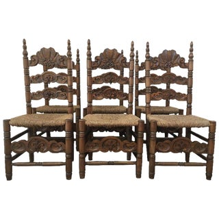 Set of Six Chairs, Turned and Carved Wood, with Straw Seat of the 20th Century