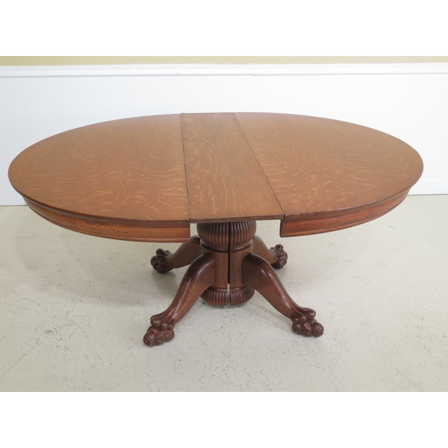 Antique Victorian Oak Round Clawfoot Dining Room Table