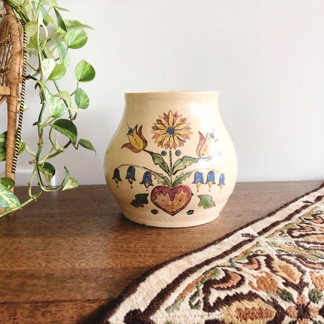 Vintage Scandinavian Hand-Painted and Hand-Thrown Ceramic Vase For Sale - Image 9 of 9