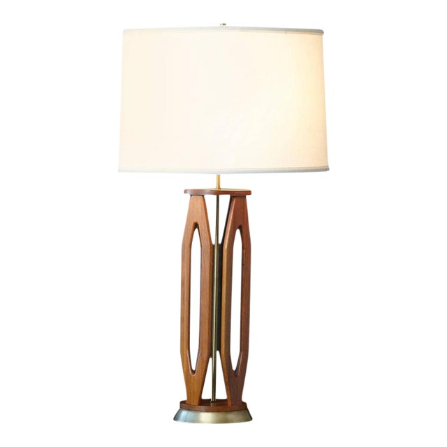 Geometric Teak Table Lamp with Brass Base For Sale