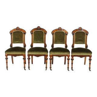 Set of Four French Victorian Renaissance Revival-Style Parlor Chairs For Sale
