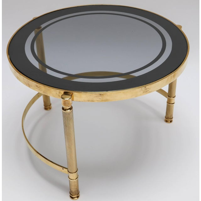 Brass Nesting Tables With Smoked Glass Tops - Set of 3 For Sale - Image 4 of 10