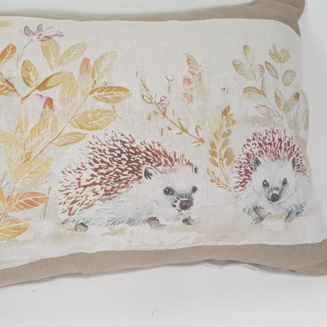 2010s Contemporary Hedgehog Accent Linen Decorative Pillow For Sale - Image 5 of 7