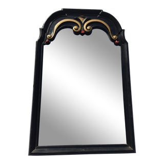 Mid-Century Vintage Black Lacquer With Red and Gold Accents Mirror