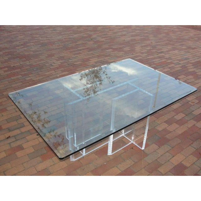 Lucite Base Dining Table/ Desk For Sale - Image 4 of 5