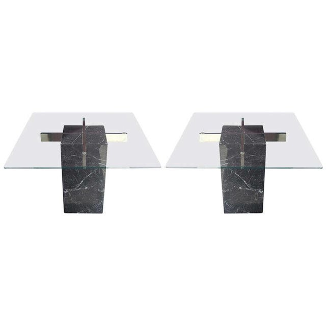 Artedi Italian Marble Pedestal Side Tables - Pair - Image 1 of 7