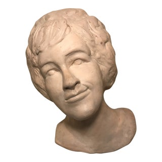 """1966"" Hand Moulded Clay Bust Titled ""a Lovely Lady"" For Sale"