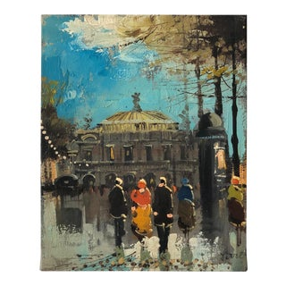 "1950s French Oil Painting ""Paris Opera House"" by Soiret For Sale"