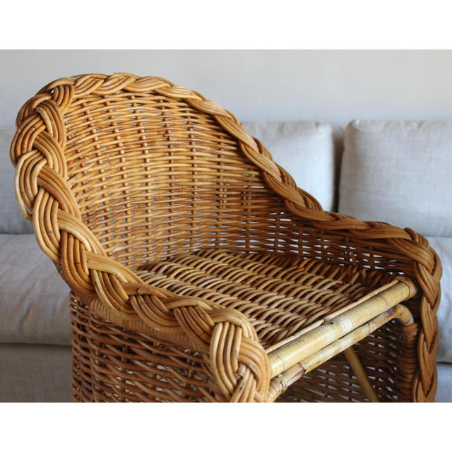 Vintage French Woven Rattan Bar Stools - a Pair For Sale - Image 9 of 13