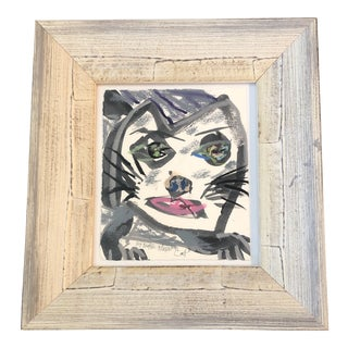 "Original Contemporary Robert Cooke Abstract ""Cat"" Painting W/Pastel Framed For Sale"
