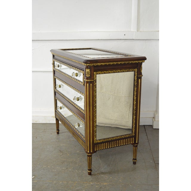Louis XVI EJ Victor Julia Gray Collection Mirrored Louis XVI Style Chest Commode For Sale - Image 3 of 10
