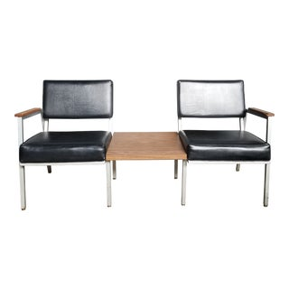 Mid Century Loveseat Bench With Center Table For Sale