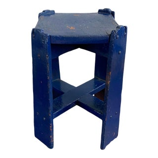 1940's Arts and Crafts Enameled Blue Wood Plant Stand For Sale