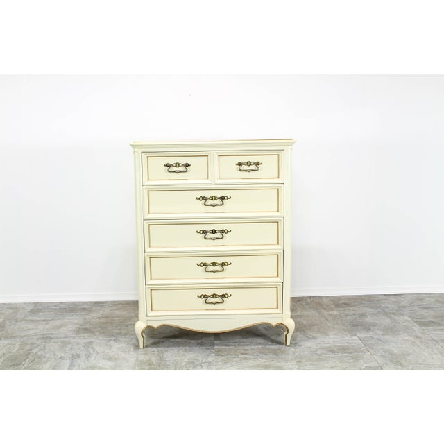 Vintage Provincial Cream Highboy Chest of Drawers For Sale - Image 10 of 10