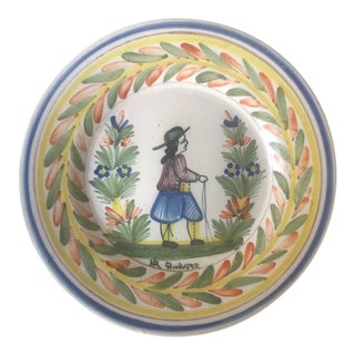 Antique French Faience Hand Painted Quimper Dinner Plate - Breton Man For Sale