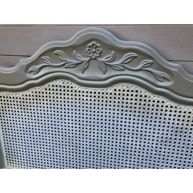 Drexel Heritage Cabernet Classics Full/Queen Painted Caned Headboard For Sale In Houston - Image 6 of 13