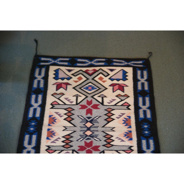 Late 20th Century Vintage Navajo Hand Loomed Geometric Rug by Ella John- 2′1″ × 3′2″ For Sale - Image 5 of 12