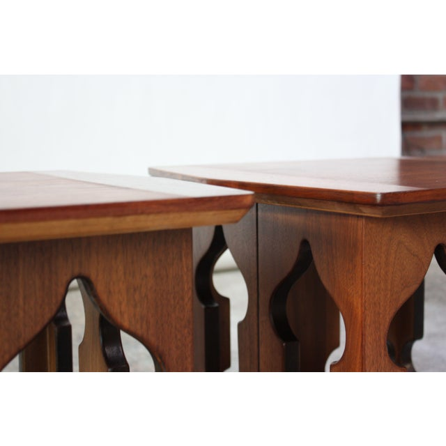 Pair of Vintage Moorish Style Walnut Side Tables with Carved Decoration For Sale - Image 10 of 12