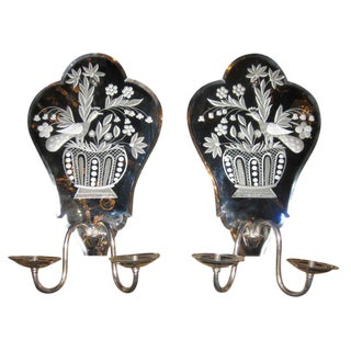 1940s Mirrored Backplate Sconces - a Pair For Sale