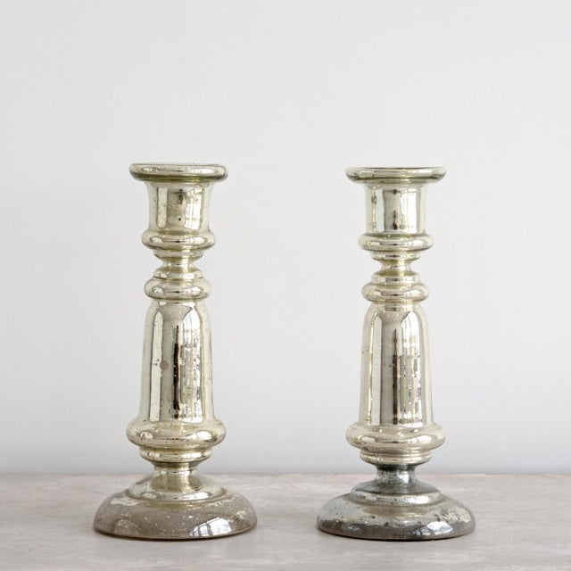 French Pair of Large 19th Century French Mercury Glass Candlesticks For Sale - Image 3 of 3
