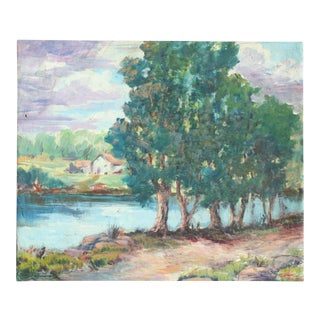 Original Vintage Landscape Oil Painting For Sale
