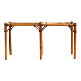 Vintage Safari Campaign Sofa Table Console Table Smokey Glass - 50""