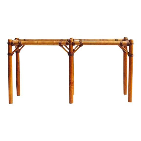 "Vintage Safari Campaign Sofa Table Console Table Smokey Glass - 50"" For Sale"