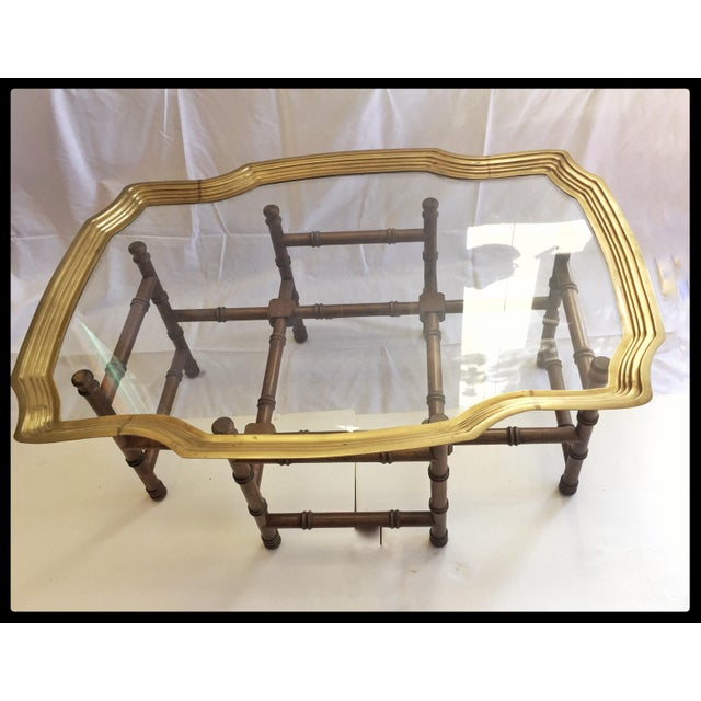 Vintage Brass Tray Coffee Table Faux Bamboo Base - Image 3 of 6