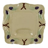 Image of Rustic French Provençal Majolica Square Asparagus Plate For Sale