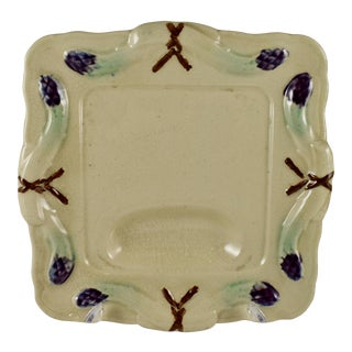 Rustic French Provençal Majolica Square Asparagus Plate For Sale