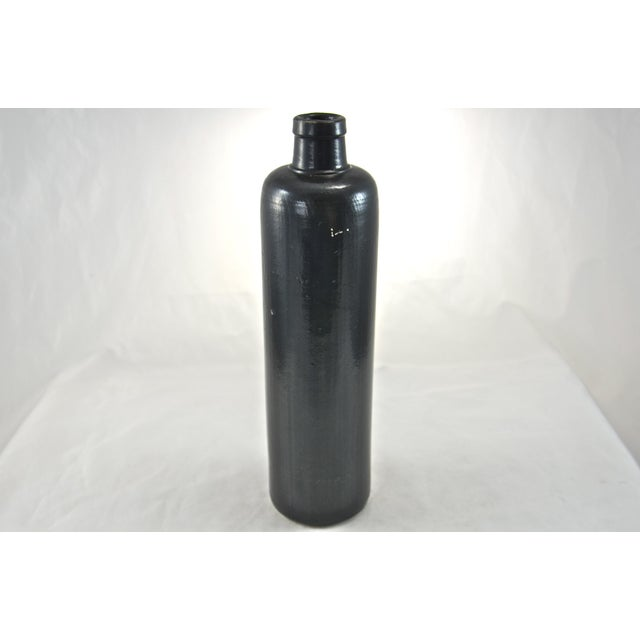 Country Black Rustic Stoneware Bottle For Sale - Image 3 of 5