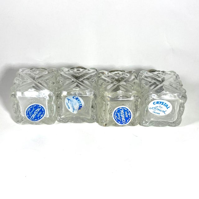 Traditional 1960s Leonard Cut Crystal Personal Salt and Pepper Shakers - Set of 4 For Sale - Image 3 of 6