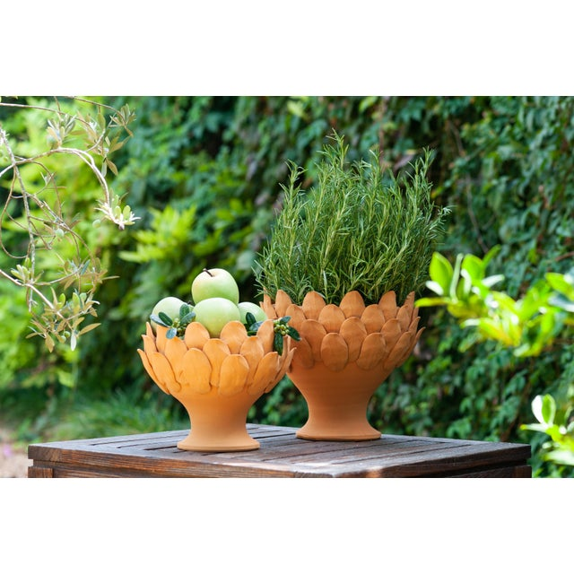 Terracotta Artichoke Footed Centerpiece, Small For Sale - Image 4 of 6