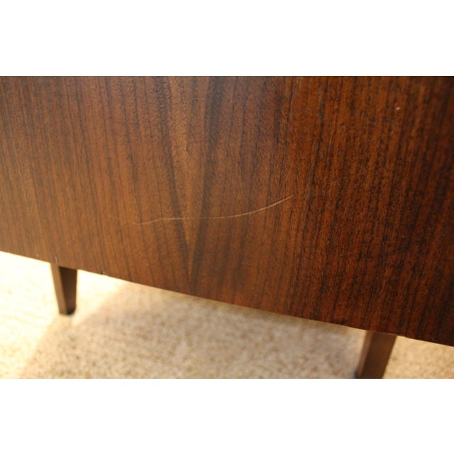 Mid-Century Danish Modern Elongated Concave-Front Walnut Credenza #137 - Image 10 of 11