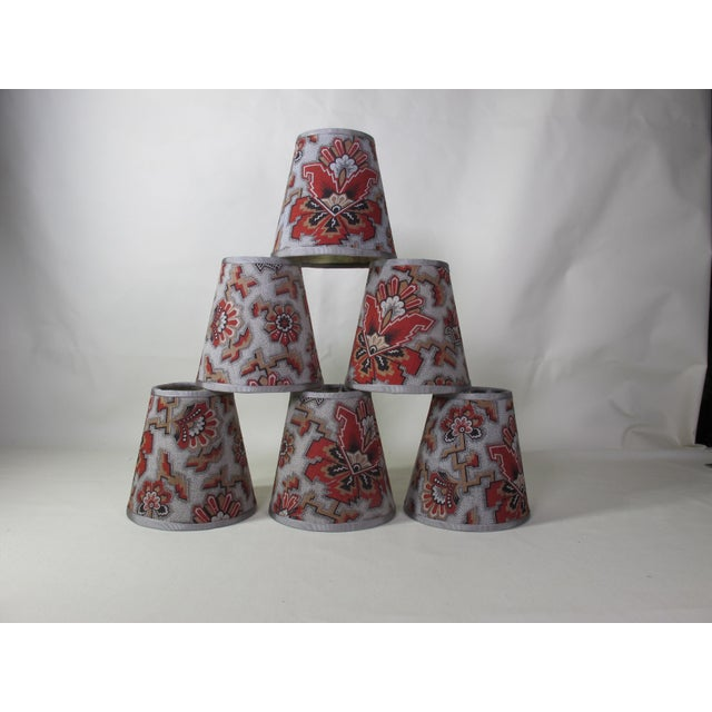 Metal Antique Red Floral Fabric Chandelier Shades - Set of 6 For Sale - Image 7 of 7