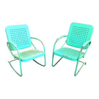 Vintage Green Metal Patio Rocker Chairs - a Pair For Sale