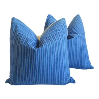 """French Country Blue, Purple & Green Striped Feather/Down Pillows 23"""" Square - Pair For Sale"""