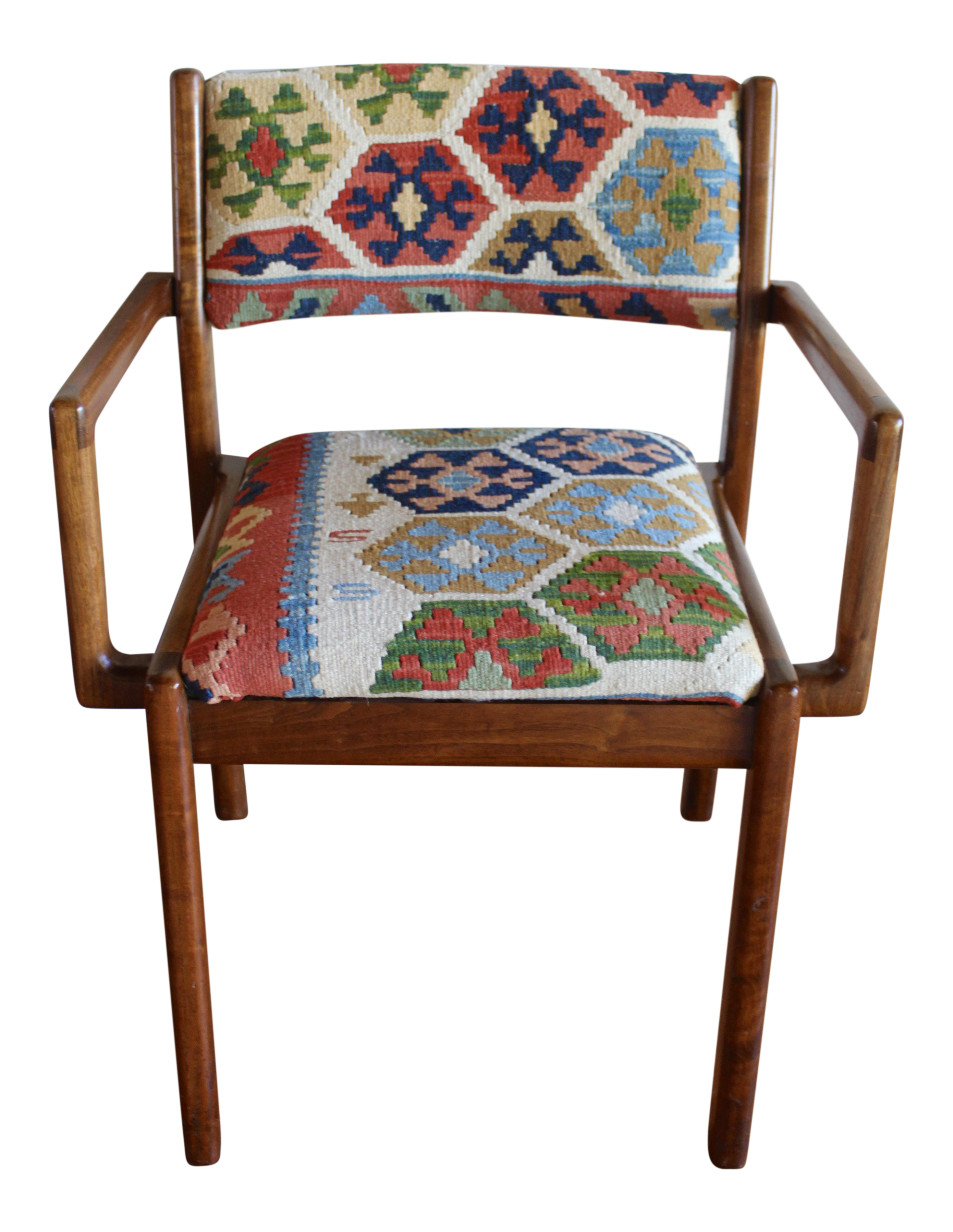 Sculptural Mid Century Modern Solid Walnut Side Chair With Wool Turkish  Kilim Upholstery