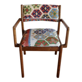Sculptural Mid-Century Solid Walnut Side Chair With Wool Kilim Upholstery