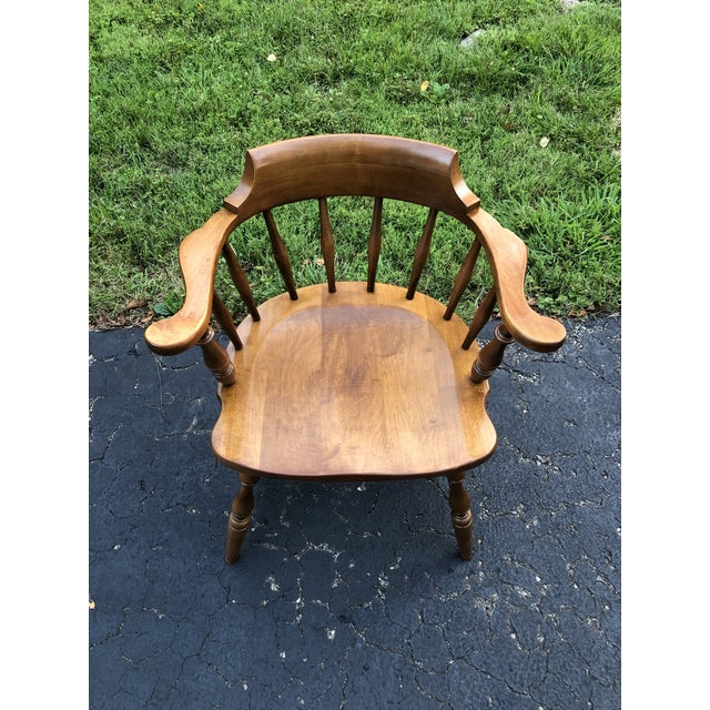 Rustic Vintage Mid Century Pennsylvania House Barrel Back Captains Chair For Sale - Image 3 of 8
