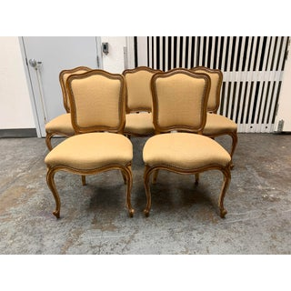 Distressed Bergere Side Chairs + Nailhead Trim - Set of Five Preview