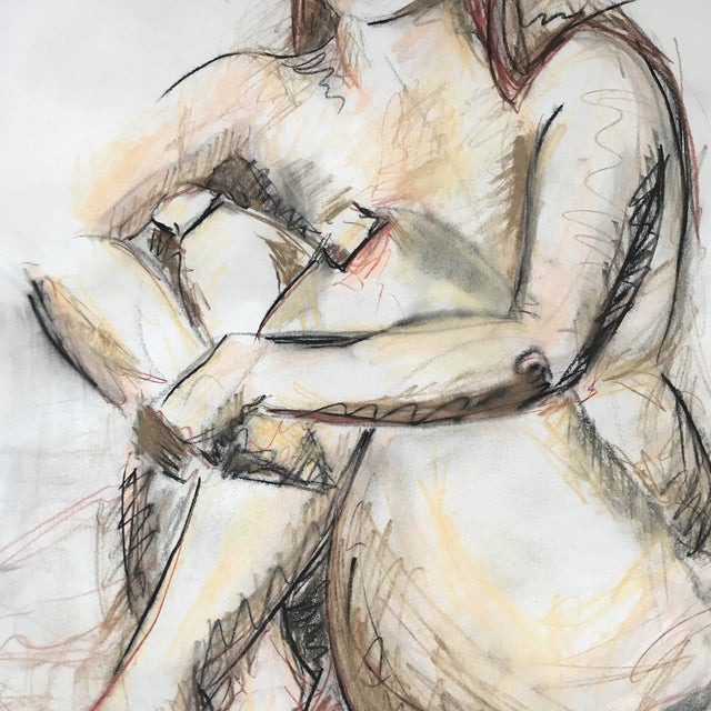 Figurative Seated Nude Drawing For Sale - Image 3 of 4