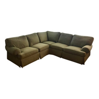 Ethan Allen 3 Piece Roll-Arm Upholstered Sectional Couch For Sale
