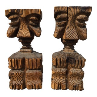 Vintage Mid Century Witco Hand Carved Tiki Bar Stools- a Pair For Sale