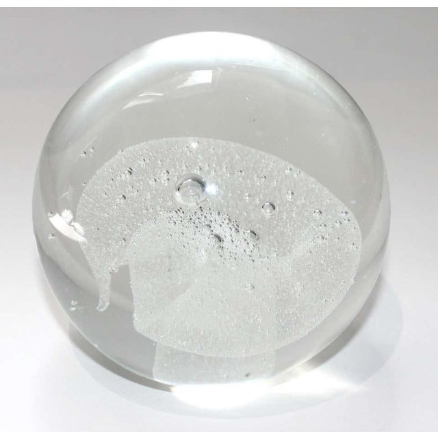 Transparent Vintage Murano Glass Paper Weight With White Swirl Paperweight For Sale - Image 8 of 10